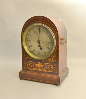 063bdebcee8916 Sheraton revival mahogany and marquetry inlaid mantel clock