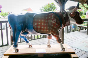 † Dixie - Standing cow: 95 x 29 x 57. Artist: Hayley Cooper. Sponsor: Smith & Western Bar & Grill. Charity: St Catherine's Hospice & Chailey Heritage.  †Please note that net proceeds are split between Surrey Hills Trust and the Charity Selected f