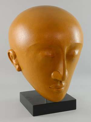 § Patricia Volk, Member of Royal British Society of Sculptors (MRBS) sculptor in glazed ceramic of a head 54cm high, on ebonised stand and pedestal,   Provenance: Purchased from the artist studio    PLEASE NOTE THAT ARTIST RESALE RIGHT MAY BE ADDITIO
