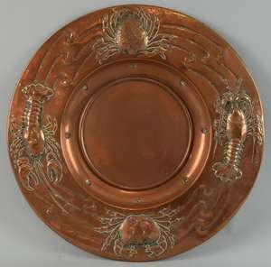 Newlyn style Arts & Crafts Circular copper tray