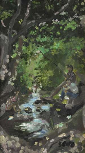 § Sherree Valentine Daines, b. 1959, three boys fishing in a woodland stream, signed with initials, oil on board, 22cm x 12.5cm,  PROVENANCE: Bought from Park Lane Fine Art.  PLEASE NOTE THAT ARTIST RESALE RIGHT MAY BE ADDITIONALLY PAYABLE ON THIS LO