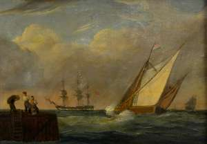 19th century seascape with a French boat heading out to sea and English boats beyond, figures on the quayside in the foreground, unsigned, oil on canvas, 51cm x 74cm,