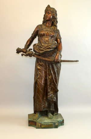 Charles Octave Levy, Salome, patinated bronze, signed on the base and with a plaque on the front, Height 83cm.