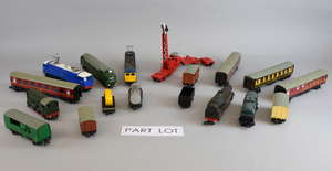 Collection of Hornby Dublo locomotives, rolling stock and accessories, in mostly red and white striped boxes,
