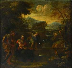 Attributed to Nicolaes Berchem, holy family in a landscape, oil on canvas, 38cm x 41cm, PROVENANCE: Collection bought at London auction houses by the vendor's grandfather over 50 years ago. Not seen on the open market since then.