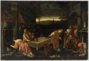 Follower of Jacopo Bassano, scene with figures around a table, oil on panel, 46cm x 68cm,  PROVENANCE: Collection bought at London auction houses by the vendor's grandfather over 50 years ago. Not seen on the open market since then.