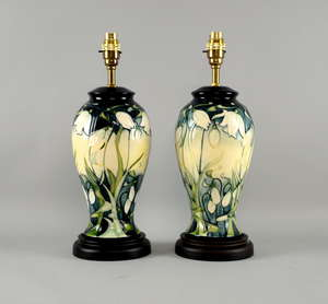 Pair of Moorcroft lamps decorated with water flowers, each  40cm high