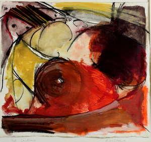 Anna O'Avary ' Red landscape' mixed media
