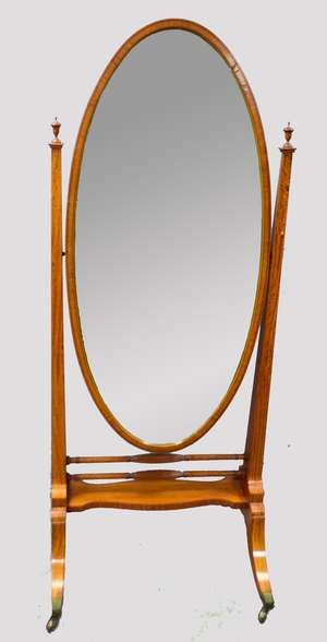 Late 19th century satinwood and ebony strung Sheraton revival cheval mirror, on splayed legs, with brass castors, 172cm high