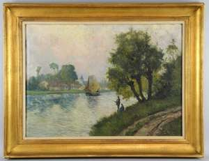De Smet, pair, cottages with river and track in the foreground, Bears signature G. De Smet  Obelisk Galley label verso. 50 x 70cm