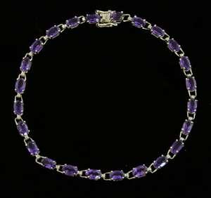 Amethyst set line bracelet in white gold