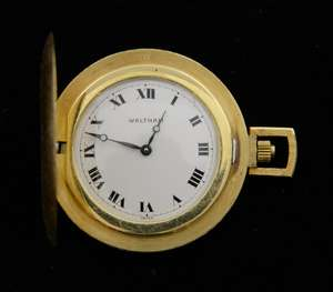 Full hunter 18ct gold Waltham pendant pocket watch, white dial with black Roman numerals.