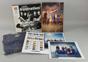 Oasis - 'Frustration' game wrap-around with sealed game, 'Lord Don't Slow Me Down' large size promo new T-Shirt, Summer 2000 pre tour press pack including 2 colour photos of band & a Big Brother back catalogue promotion sheet.
