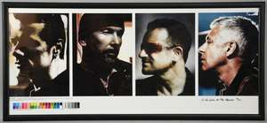 U2 - 'No Line On The Horizon', flat printed proof artwork, headshots of the four band members, limited edition 63/125, framed, 34 x 15.5 inches.