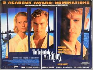 40 British Quad film posters, most 2000's, including The Talented Mr. Ripley, Precious, An Education, My Blueberry Nights (A and B styles), The Station Agent, Paranoid Park, We Are What We Are, Red Road, Rampart, Days of Glory, The Assassination of R