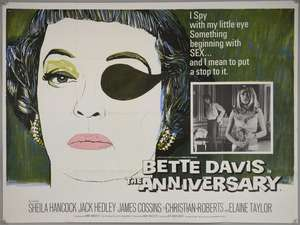The Anniversary (1967) British Quad film poster, Hammer thriller starring Bette Davis, artwork by Tom Chantrell, folded, 30 x 40 inches