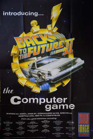 Back To The Future II (1989) Computer game poster showing the De Lorean car, folded, 40 x 60 inches