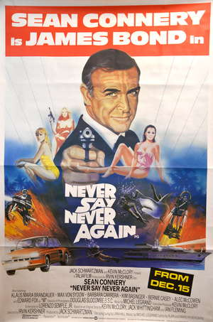 James Bond Never Say Never Again (1983) British bus stop film poster, starring Sean Connery, artwork by Landi, the release date indicating poster dates from the debut West End release of the film, rolled, 40 x 60 inches
