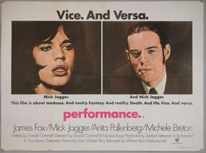 Performance (1970) British Quad film poster, starring Rolling Stone Mick Jagger, Anita Pallenberg & James Fox, Warner Bros, folded, 30 x 40 inches