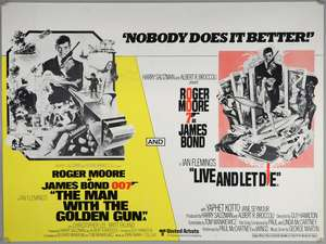 James Bond The Man With The Golden Gun / Live And Let Die (1979) British Quad double bill cinema poster