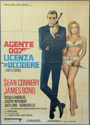 James Bond Dr. No (R-1970's) Italian 2 Foglio film poster
