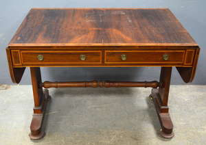 19th century rosewood  cross banded sofa table on twin end supports, 75cm x 101cm