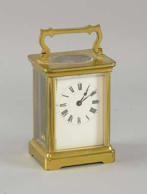 Brass and four glass carriage clock with lever movement
