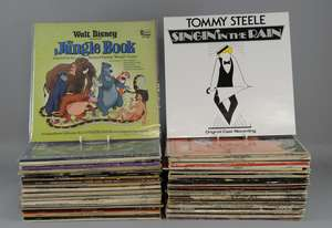 70+ mainly Soundtrack vinyl albums including James Bond Greatest Hits, South Pacific, Yentl, Saturday Night Fever, Lawrence of Arabia, Mary Poppins, The Sound of Music, Jungle Book & others