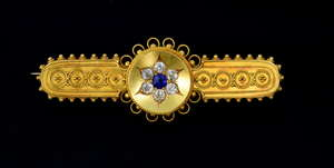 Victorian gold Etruscan style sapphire and diamond brooch