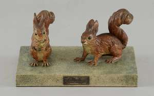 Two cold painted bronze squirrels on a shagreen base