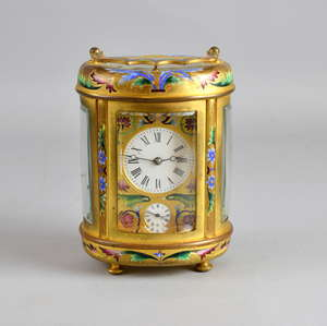 Gilt metal and cloisonne enamelled oval repeating carriage clock with lever movement