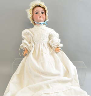 German porcelain doll with bisque head, marks to back of head, moving eyes, open mouth,