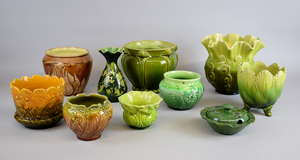 Group of mainly green glazed Art pottery