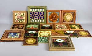 Collection of  framed decorative ceramic tiles