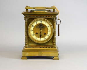 19th century French large carriage clock with Brocot escapement, the enamelled dial with twin train movement, Arabic numerals, with thermometer and compass on the top, on shaped square feet