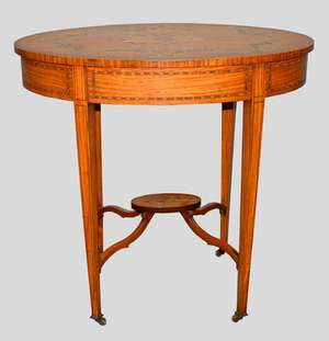 Late 19th/early 20th century satinwood oval two-tier table with inlaid and painted floral decoration, on square tapering supports and castors, with undershelf, 74cm x 77cm x 51cm,