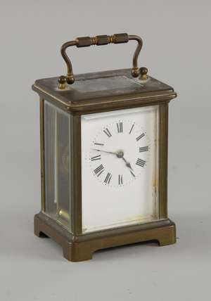 Early 20th century brass and glass carriage clock
