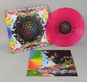 Coldplay - 'A Head Full OF Dreams', signed LP record of the band's latest album release (2015). Two LP coloured vinyl set on 180 gram vinyl (one blue and one pink). Signed to the front in silver by the band Chris Martin, Guy Berryman, Jonny Buckland