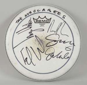 The Maccabees - used Remo drum skin, signed by the band Orlando Weeks, Hugo White, Felix White, Rupert Shepherd and Sam Doyle. Diameter 27cm. Ewbank's are waving any vendor commission on this sale to benefit Greg Gilbert's fund, buyers premium at our