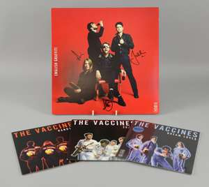 The Vaccines - 'English Graffiti', signed LP vinyl record of the 2015 album release. Signed to the cover in black ink by three of the band. With original insert and CD version of album. Opened. Along with three The Vaccines 7 vinyl singles, 'Handsom