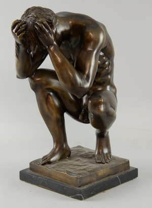 20th century cast metal study of a naked man on polished slate base, 44cm   Provenance; The Tony Cumings Collection,