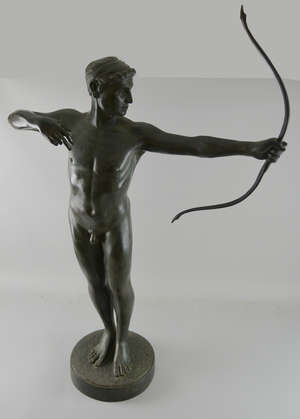 Cast metal figure of an archer in classical form on round base