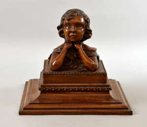 Mahogany carved figure of a young boy on square base - 25 cm  Provenance; The Tony Cumings Collection