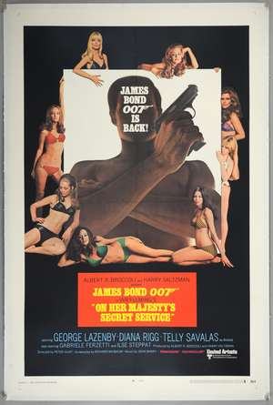 James Bond On Her Majesty's Secret Service (1970) US One Sheet film poster, Style A, starring George Lazenby, United Artists, linen backed, 27 x 41 inches