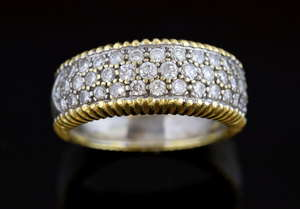 White and yellow  gold curved band ring pave set with diamonds