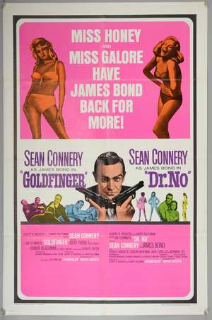 James Bond Goldfinger / Dr. No (1966) Double Bill  One Sheet film poster