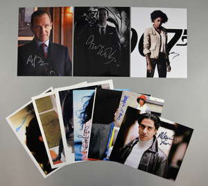 James Bond - 10 signed photos including Ralph Fiennes, Andrew Scott, Samantha Bond, Honor Blackman, Jesper Christensen, Naomie Harris & others. Provenance: This lot has been consigned by Duncan Halls. During the past 30 years Duncan has amassed a vas