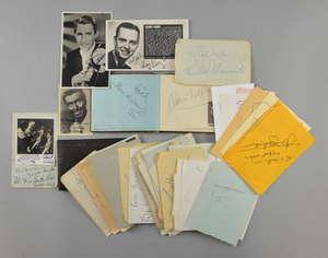 Autograph book & other items, 60+ music hall & big signatures including Max Miller, Jimmy Edwards, Larry Adler, Edmundo Ross, Victor Silvester, Cleo Laine, John Dankworth & others