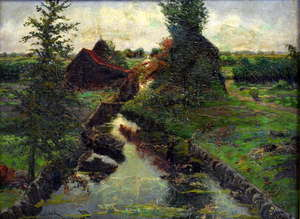 19th century oil on canvas in the manner of Maurits Van der Valk depicting a meandering river landscape, singed lower left, 31cm x 43cm