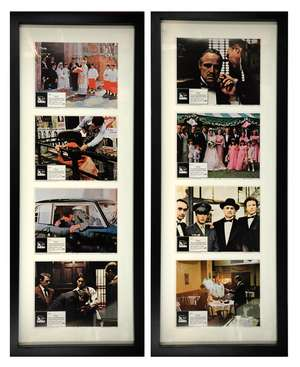 The Godfather (1972) Set of 8 US Lobby cards, starring Marlon Brando & Al Pacino, Paramount, framed (4 in each frame), 11 x 14 inches